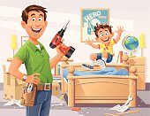 A young handyman with a drill in front of a new self assembly bed for his little son, who is testing it. EPS 8, fully editable, grouped and all labeled in layers.