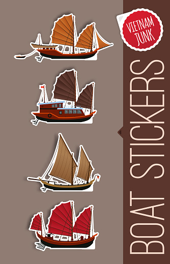 Junk Boat Stickers Halong Bay Vietnam Junk Stickers Of Junk Boat — стоковая  векторная графика и другие