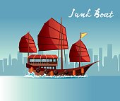 Vector Junk Boat