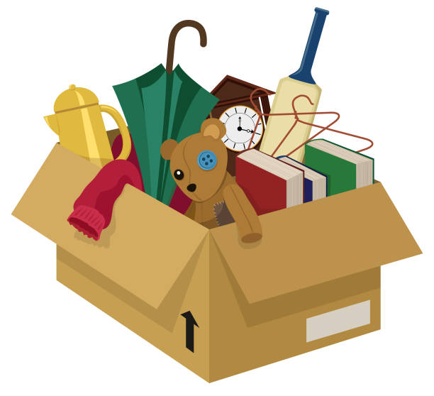 Junk Box A cardboard box filled with various household junk items obsolete stock illustrations