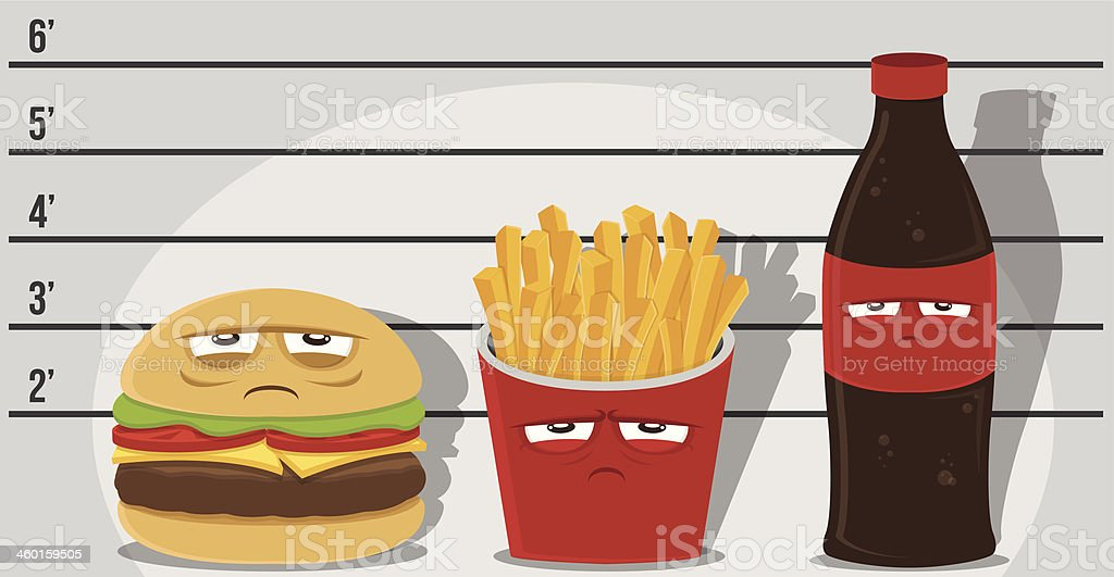 Junk Food Criminals vector art illustration