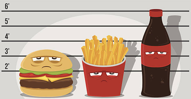 junk food criminals - junk food stock illustrations, clip art, cartoons, & icons