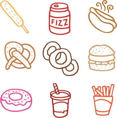 Junk food doodle icon set