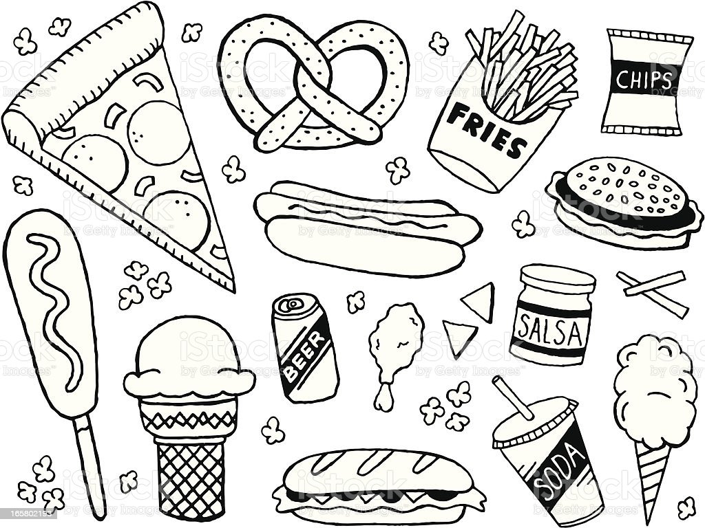 Junk Food Doodles Stock Vector Art More Images Of Beer Alcohol