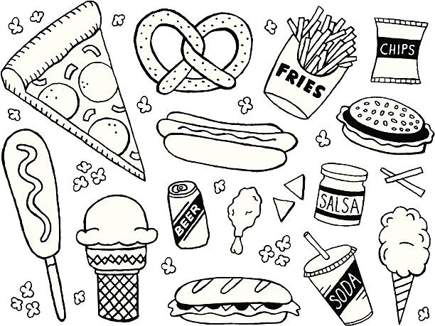 stockillustraties, clipart, cartoons en iconen met junk food doodles - friet