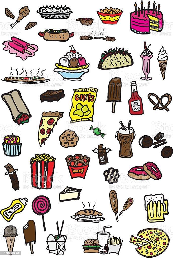 Junk Food Doodles vector art illustration