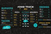 Junk Food festival menu template, street restaurant brochure cover. Modern truck flyer with hand-drawn lettering and items. Vector menu board