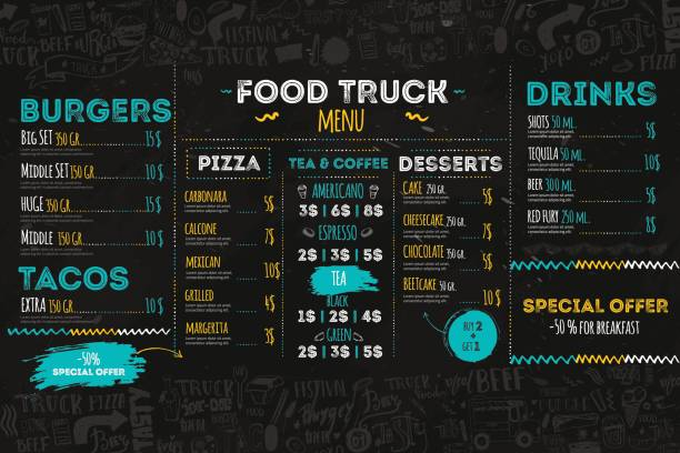 junk food festival menu template, street restaurant brochure cover. modern truck flyer with hand-drawn lettering and items. vector menu board. - restaurant logos stock illustrations, clip art, cartoons, & icons