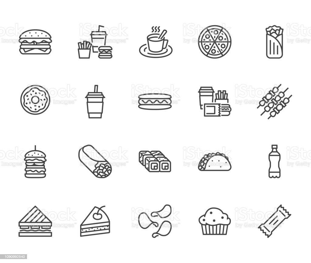 정크 푸드 플랫 라인 아이콘을 설정합니다. 햄버거, 빠른 스낵, 샌드위치, 감자 튀김, 핫도그, 멕시코 버 리 토, 피자 벡터 일러스트 레이 션. 레스토랑 메뉴에 대 한 얇은 서명 한다. 픽셀 완벽 64  - 로열티 프리 0명 벡터 아트