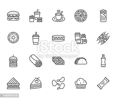 Junk food flat line icons set. Burger, fast snacks, sandwich, french fries, hot dog, mexican burrito, pizza vector illustrations. Thin signs for restaurant menu. Pixel perfect 64x64. Editable Strokes.