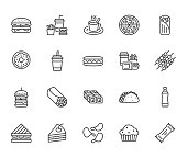 Junk food flat line icons set. Burger, fast snacks, sandwich, french fries, hot dog, mexican burrito, pizza vector illustrations. Thin signs for restaurant menu. Pixel perfect 64x64. Editable Strokes