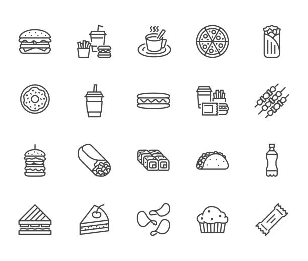 stockillustraties, clipart, cartoons en iconen met junkfood platte lijn pictogrammen instellen. hamburger, snelle snacks, broodje, frietjes, hotdog, mexicaanse burrito, pizza vectorillustraties. dunne tekenen voor restaurant menu. pixel perfect 64 x 64. bewerkbare lijnen - hamburgers