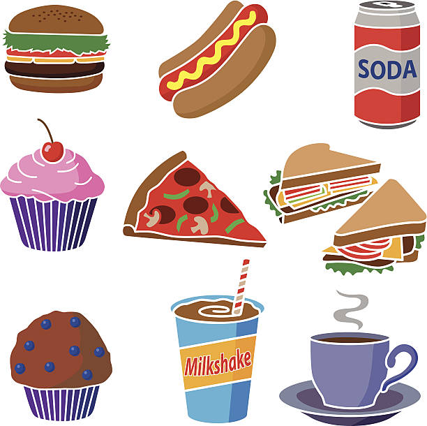 junk food icon set vector art illustration