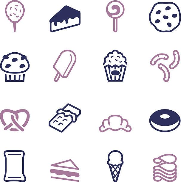 junk-food-icons-color-serie - tortenriegel stock-grafiken, -clipart, -cartoons und -symbole