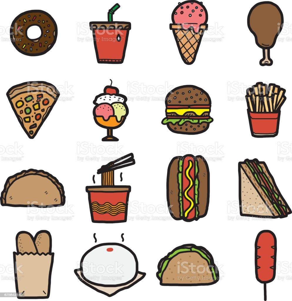 comida de plástico, conjunto de ícones - ilustração de arte em vetor