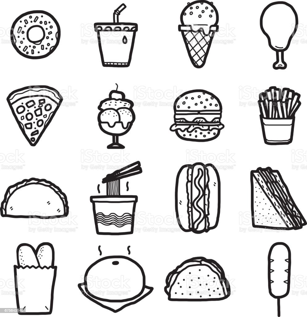 junk food, icons set royalty-free junk food icons set stock vector art & more images of art