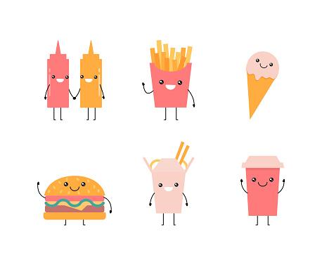 Junk food icons set. Vector kawaii illustration, cartoon style