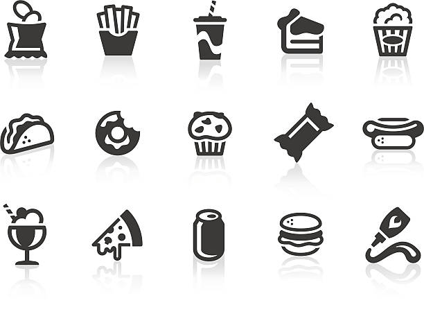 stockillustraties, clipart, cartoons en iconen met junk food icons - friet