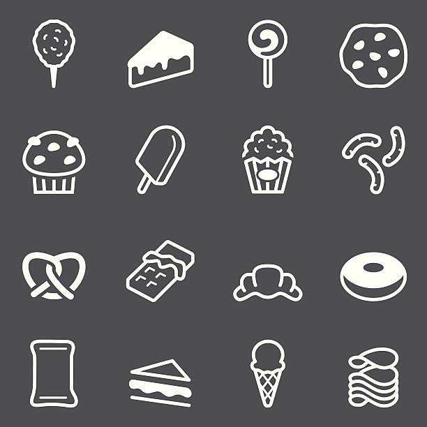 junk-food-icons-weiße serie - tortenriegel stock-grafiken, -clipart, -cartoons und -symbole