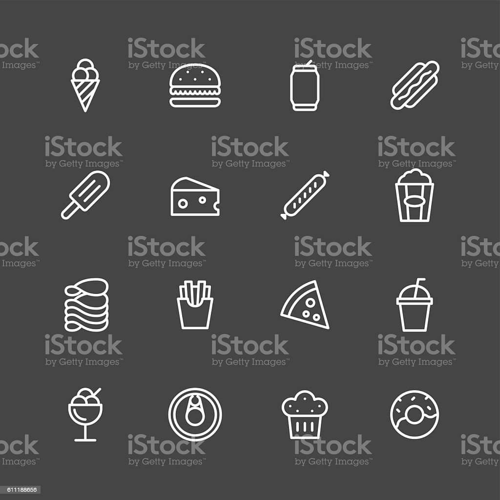 Junk food Icons - White Series vector art illustration
