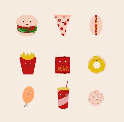 Junk Food Kawaii Character