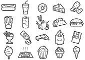 Junk Food Line Icons Set