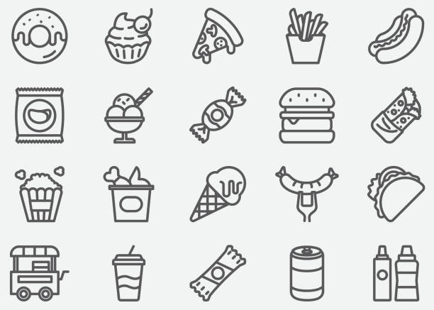 stockillustraties, clipart, cartoons en iconen met junk food lijn pictogrammen - friet