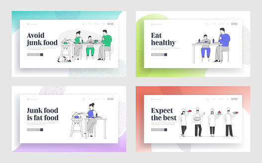 Junk Food Unhealthy Eating, Restaurant Staff with Dishes Website Landing Page Set. Fat Family Eat fastfood at Home. Chefs with Meals on Tray Web Page Banner. Cartoon Flat Vector Illustration, Line Art