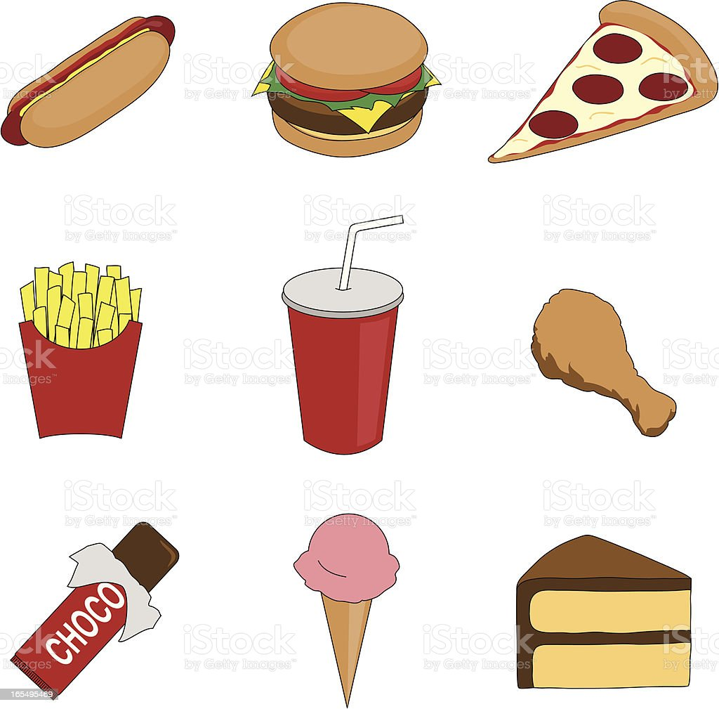 Junk Food Stock Vector Art Amp More Images Of Cake 165495469