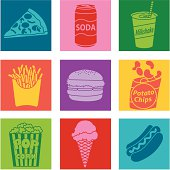 Vector illustrations with a junk food theme.