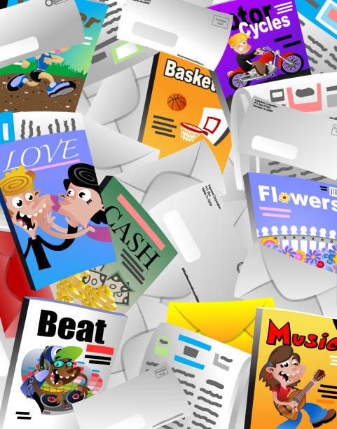 junk mail vector art illustration
