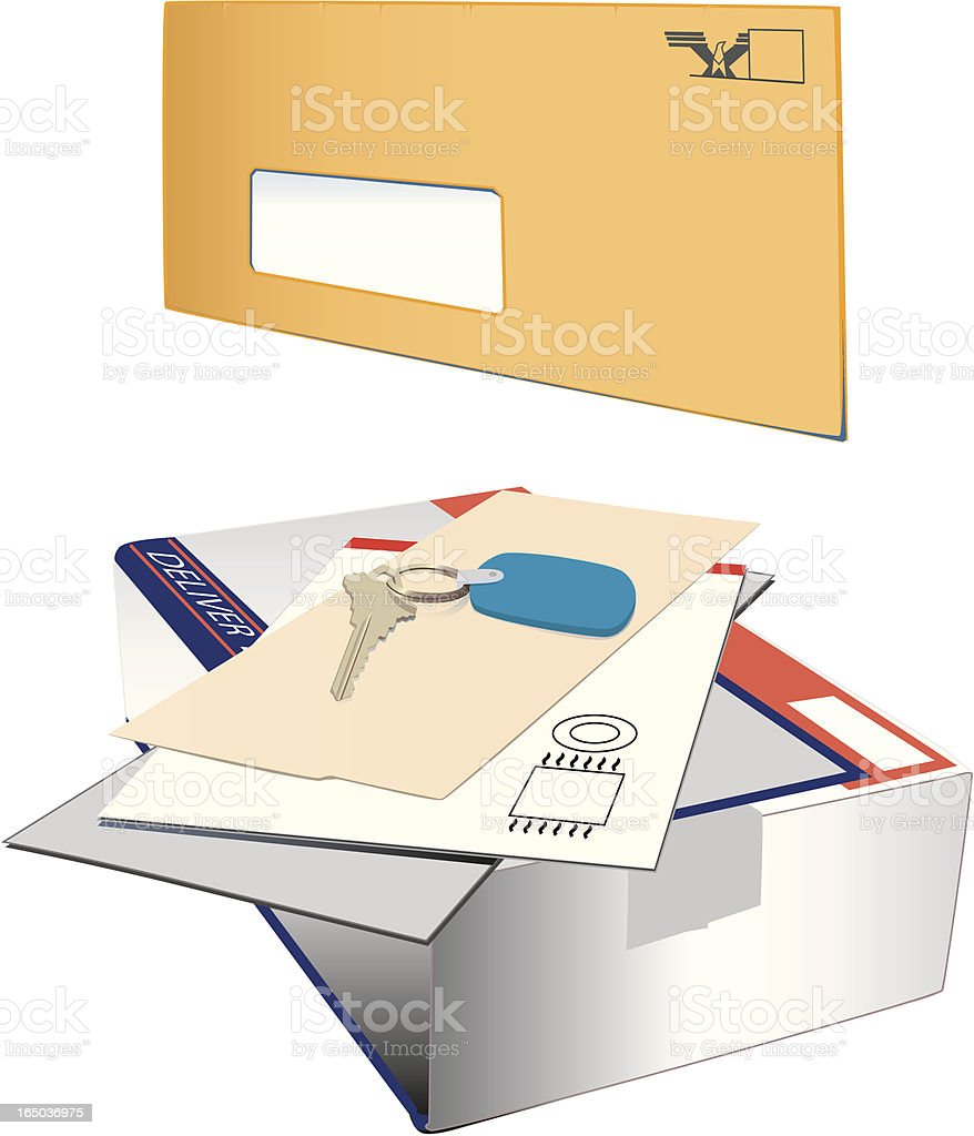 Junk mail with key (vector) royalty-free stock vector art