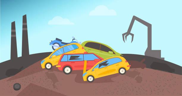 Junkyard. Dump for cars Junkyard. Dump for cars Flat Vector Catoon obsolete stock illustrations