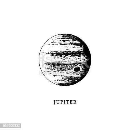 istock Jupiter planet image on white background. Hand drawn vector illustration 931905332
