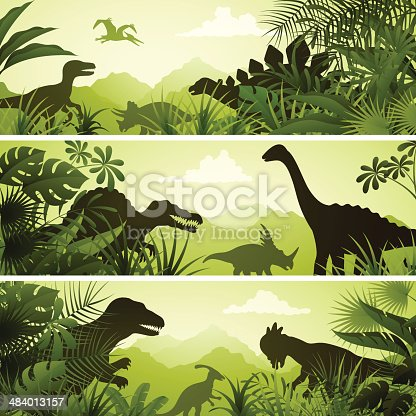 Banners with dinosaurs. High Resolution JPG,CS5 AI and Illustrator EPS 8 included. Each element is named,grouped and layered separately.