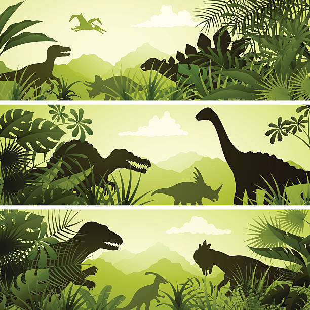 ilustrações, clipart, desenhos animados e ícones de jurassic banners - dinossauro