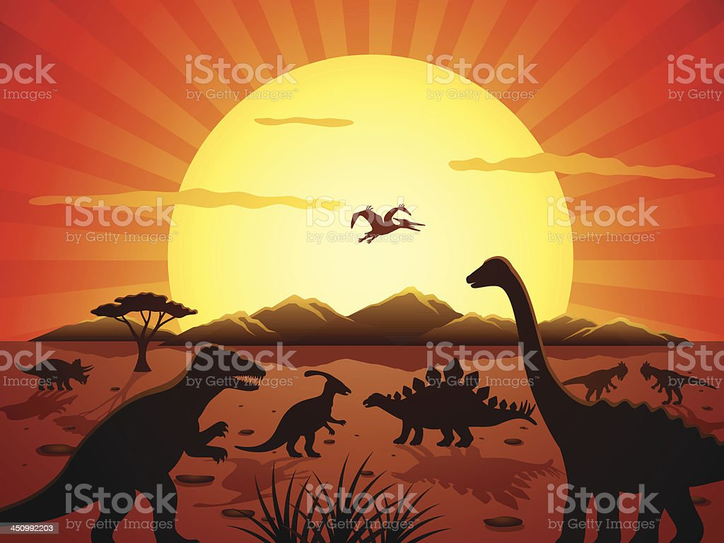 Jurassic Scene vector art illustration