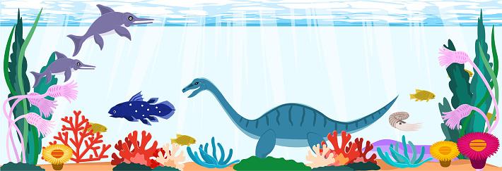 Jurassic sea dinosaurs. Horizontal background material.
