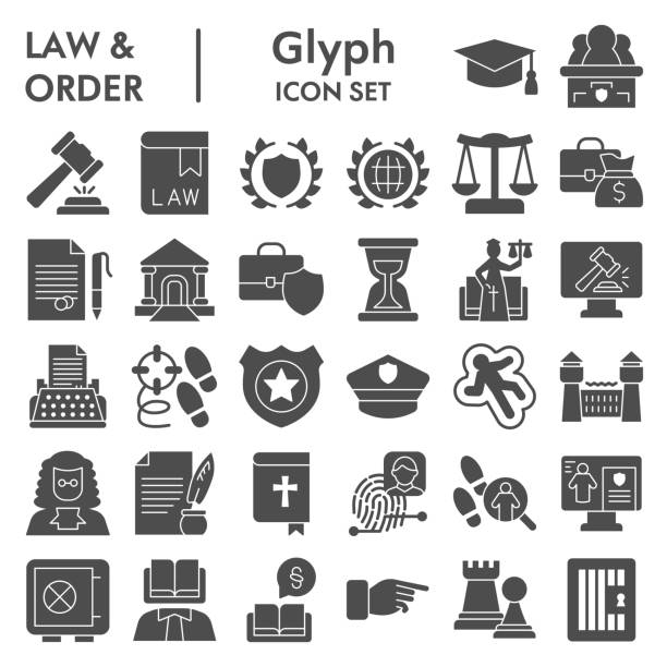 Jurisprudence glyph icon set, law and order collection, vector sketches, logo illustrations, web symbols, solid style pictograms package isolated on white background, eps 10. Jurisprudence glyph icon set, law and order collection, vector sketches, logo illustrations, web symbols, solid style pictograms package isolated on white background, eps 10 punishment stock illustrations
