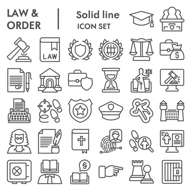 Jurisprudence line icon set, law and order collection, vector sketches, logo illustrations, web symbols, outlyne style pictograms package isolated on white background, eps 10. Jurisprudence line icon set, law and order collection, vector sketches, logo illustrations, web symbols, outlyne style pictograms package isolated on white background, eps 10 punishment stock illustrations