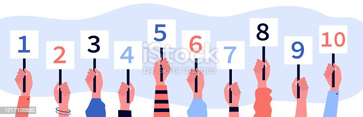 Jury showing cards with amount of scores. Collection of scorecards in human hands, competition judges giving evaluation. Vector illustration for contest, feedback, game, vote concept