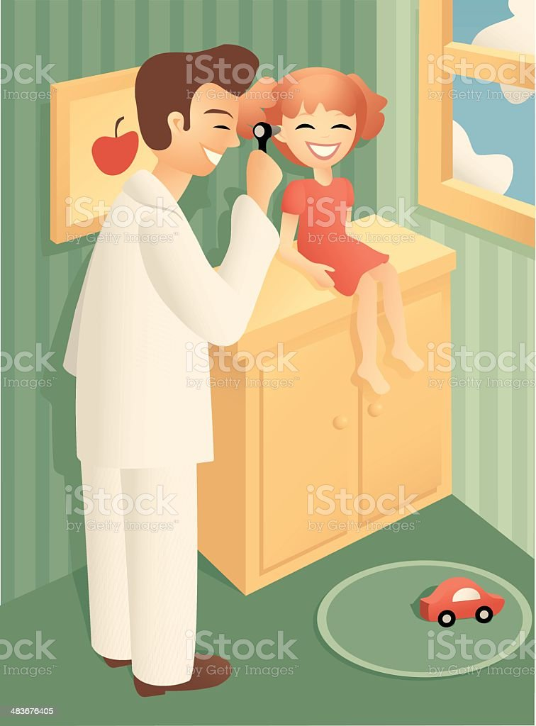 Just a checkup with the pediatrician royalty-free stock vector art