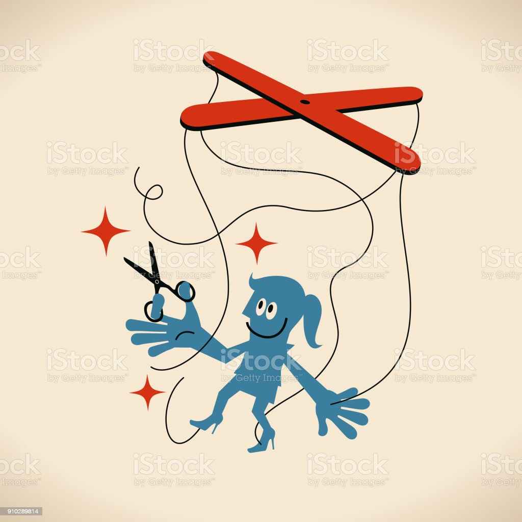 Just be yourself, Businesswoman using scissor to cut the puppet strings attached to her hands and feet vector art illustration