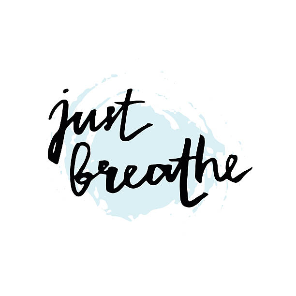 Just breathe. Inspirational lettering quote. Just breathe. Inspirational quote calligraphy at blue and white background. Vector lettering about life, calm, positive saying. Modern brush calligraphy. Hand drawn lettering element for your design. tranquility stock illustrations