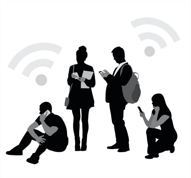 Just Cellphones Variety of people attending to their cellphones, talking, texting or simply reading.  This is a vector silhouette illustration in black and white millennial generation stock illustrations