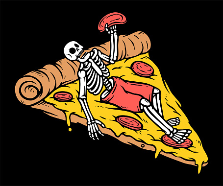 Just chilling with pizza vector illustration