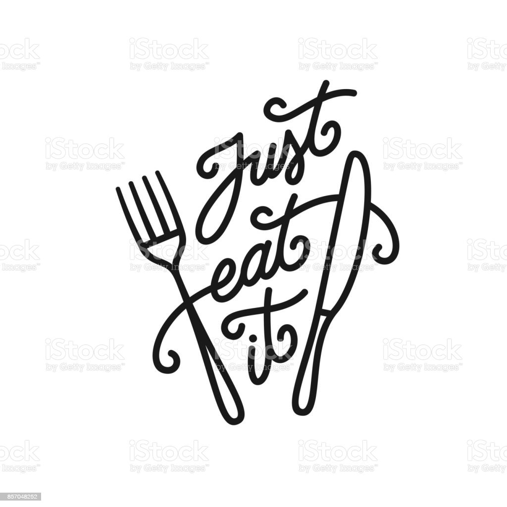 Vector Drawing Lines Quotes : Just eat it kitchen quote typography print vector vintage
