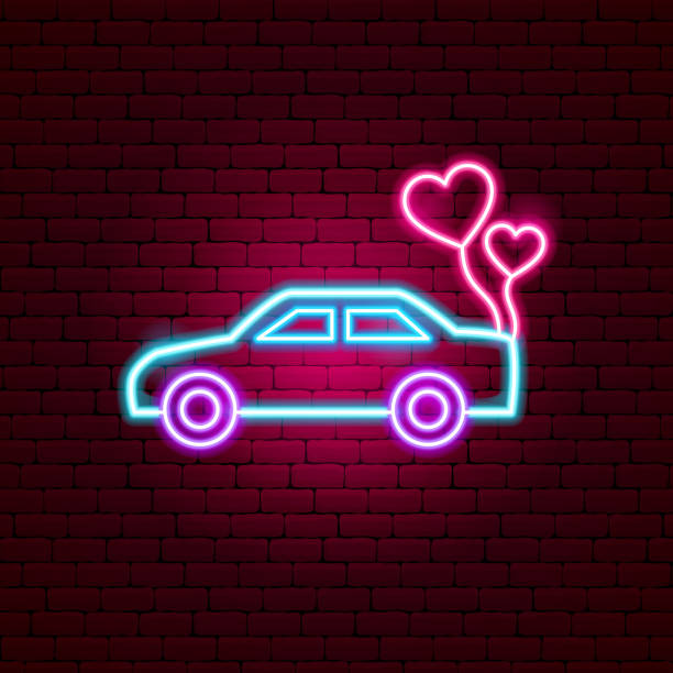 Just Married Car Neon Sign Just Married Car Neon Sign. Vector Illustration of Transport Promotion. car love stock illustrations