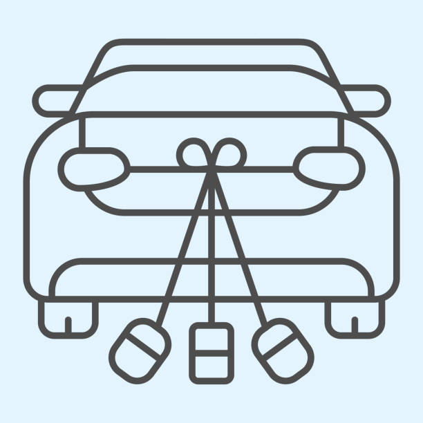 Just married car thin line icon. Romantic vehicle and decoration with jars and cans. Wedding asset vector design concept, outline style pictogram on white background, use for web and app. Eps 10. Just married car thin line icon. Romantic vehicle and decoration with jars and cans. Wedding asset vector design concept, outline style pictogram on white background, use for web and app. Eps 10 car love stock illustrations