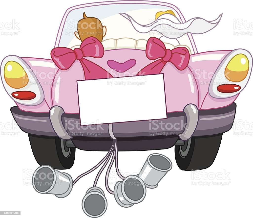 Just married car vector art illustration